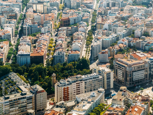 Aerial Airplane View Of Lisbon City In Portugal
