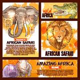 Vector zoo sketch poster wild African animal - 175062781