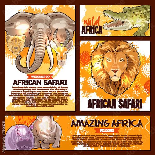 Naklejka Vector zoo sketch poster wild African animal
