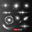Vector light flashes and star sparkles icons