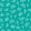 Floral pattern, white flowers on turquoise background. - 175063157