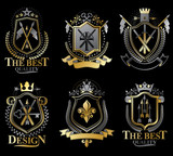 Set of vector retro vintage insignias created with design elements like medieval castles, armory, wild animals, imperial crowns. Collection of coat of arms. - 175064140