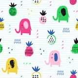 Elephant seamless pattern with pineapple. Kid design. Vector illustration. - 175064367