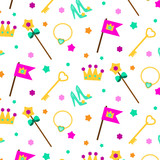 Princess party pattern. Vector background with girl elements crown, shoes, wand. For party invitations, gift wrapping, scrapbook papers
