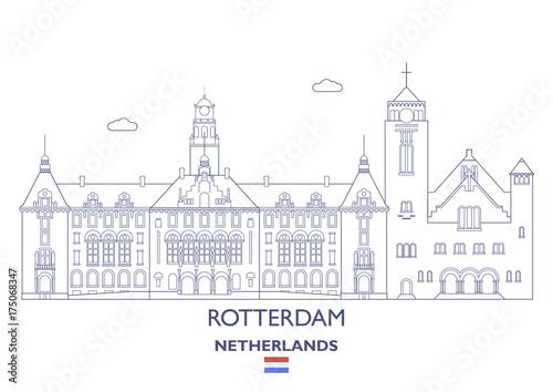 In de dag Rotterdam Rotterdam City Skyline, Netherlands