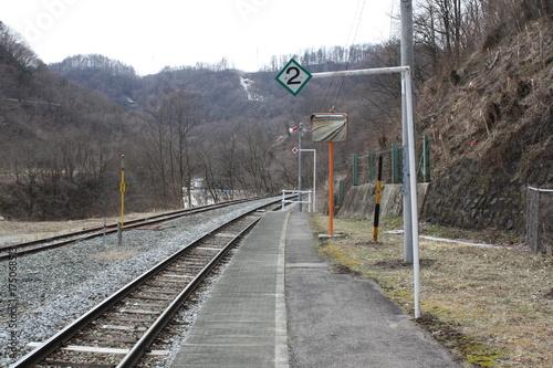 Staande foto Spoorlijn 秘境感のある田舎駅