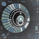Dimensional abstract circular mechanical scheme, 3d technological pattern. Vector industrial and engineering background.