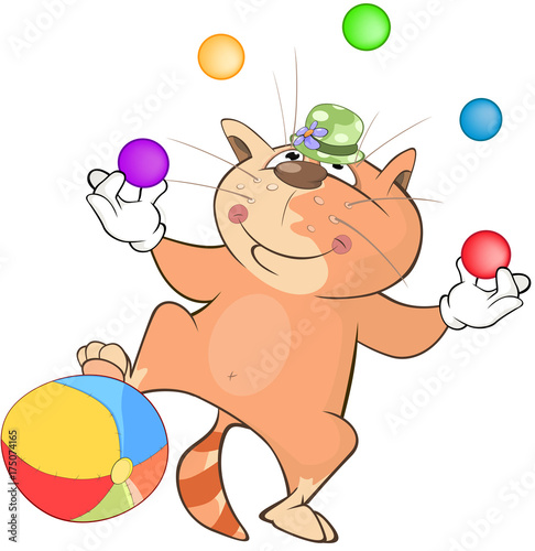 Foto op Plexiglas Babykamer Illustration of a Cute Cat Juggler. Cartoon Character
