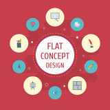 Flat Icons Stand, Pen, Scheme Vector Elements. Set Of Original Flat Icons Symbols Also Includes Plan, Artist, Brain Objects. - 175080771