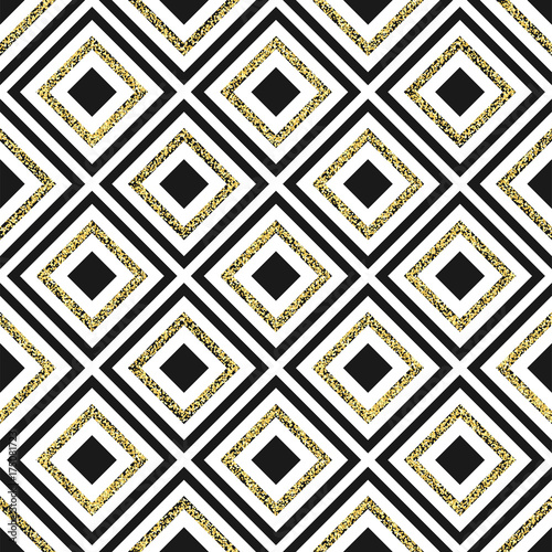 Gold glitter rhomb seamless pattern. Vector - 175081723