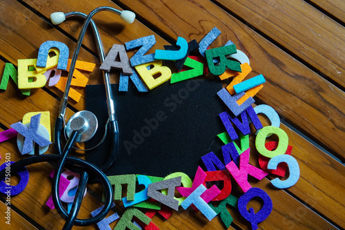 Blackboard and colorful alphabets