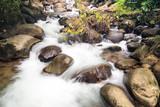 waterfall with splash flow water on rock - 175088712