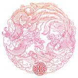 oriental dragon and phoenix outline - 175089102