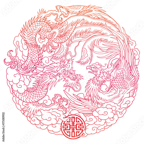 oriental dragon and phoenix outline
