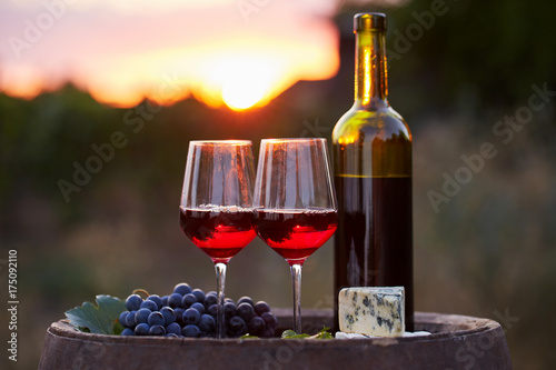 Two glasses of red wine and bottle in the vineyard at sunset
