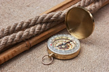 Compass with ropes and bamboo on  canvas