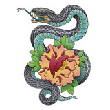 snake and peony flower - 175095539