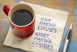 Stop making excuses - reminder note - 175095594