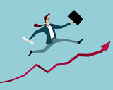 Businessman jumping up over the success chart - 175098138