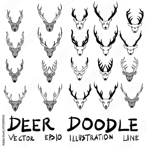 Fotobehang Hipster Hert Hand drawn deer isolated. Vector sketch black and white background illustration icon doodle eps10