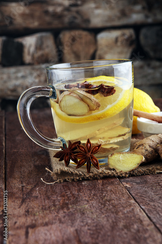 Cup of Ginger tea with lemon and honey. Poster