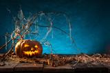 Halloween pumpkins on wooden planks. - 175106142