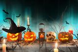 Halloween pumpkins on wooden planks. - 175106329