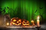 Halloween pumpkins on wooden planks. - 175106532