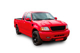Red American pickup. White background.