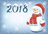 Christmas card with funny Snowman against snowfall background and  inscription