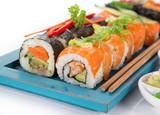 Japanese sushi set on white background. - 175111537