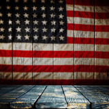 Empty wooden table over vintage USA flag background. - 175113304