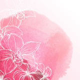 Watercolor background with orchid flowers