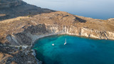 Aerial View of historic Village Lindos on Rhodes Greece Island - 175115550