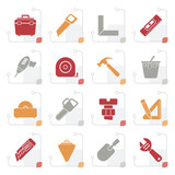 Stylized Construction objects and tools icons- vector icon set - 175116734