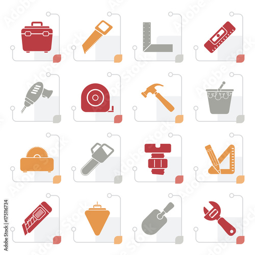 Stylized Construction objects and tools icons- vector icon set