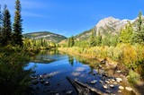 Peaceful ponds in a mountain landscape, Kananaskis, Alberta, Canada