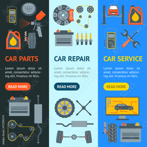 Fotobehang Auto Cartoon Car Service Banner Vecrtical Set. Vector
