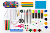 Set of school supplies on white background. Paint, pencils, notepad, brushes, scissors. - 175122554
