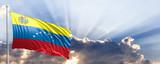 Venezuela flag on blue sky. 3d illustration