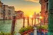 Beautiful sunrise in Grand canal with Church of Santa Maria, Venice
