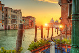 Beautiful sunrise in Grand canal with Church of Santa Maria, Venice