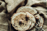 dry poppies on wood and in sackcloth - 175130330