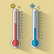 Cold and hot thermometer temperature icon vector illustration graphic design
