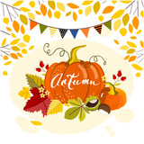 Autumn background with a pumpkin, vector illustration - 175136951