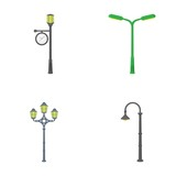Lamppost in retro style,modern lantern, torch and other types of streetlights. Lamppost set collection icons in cartoon style vector symbol stock illustration web. - 175139371