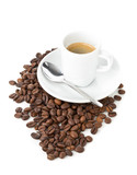 Coffee beans and cup of espresso - 175142137