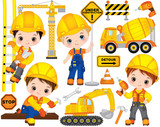 Vector Construction Set with Little Builders, Transport and Tools - 175144378