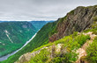 Overview on the valley of Malbaie river from an high angle on the summit, Mont des Érables, Quebec, Canada