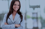 Modern business woman in the office with copy space - 175151181